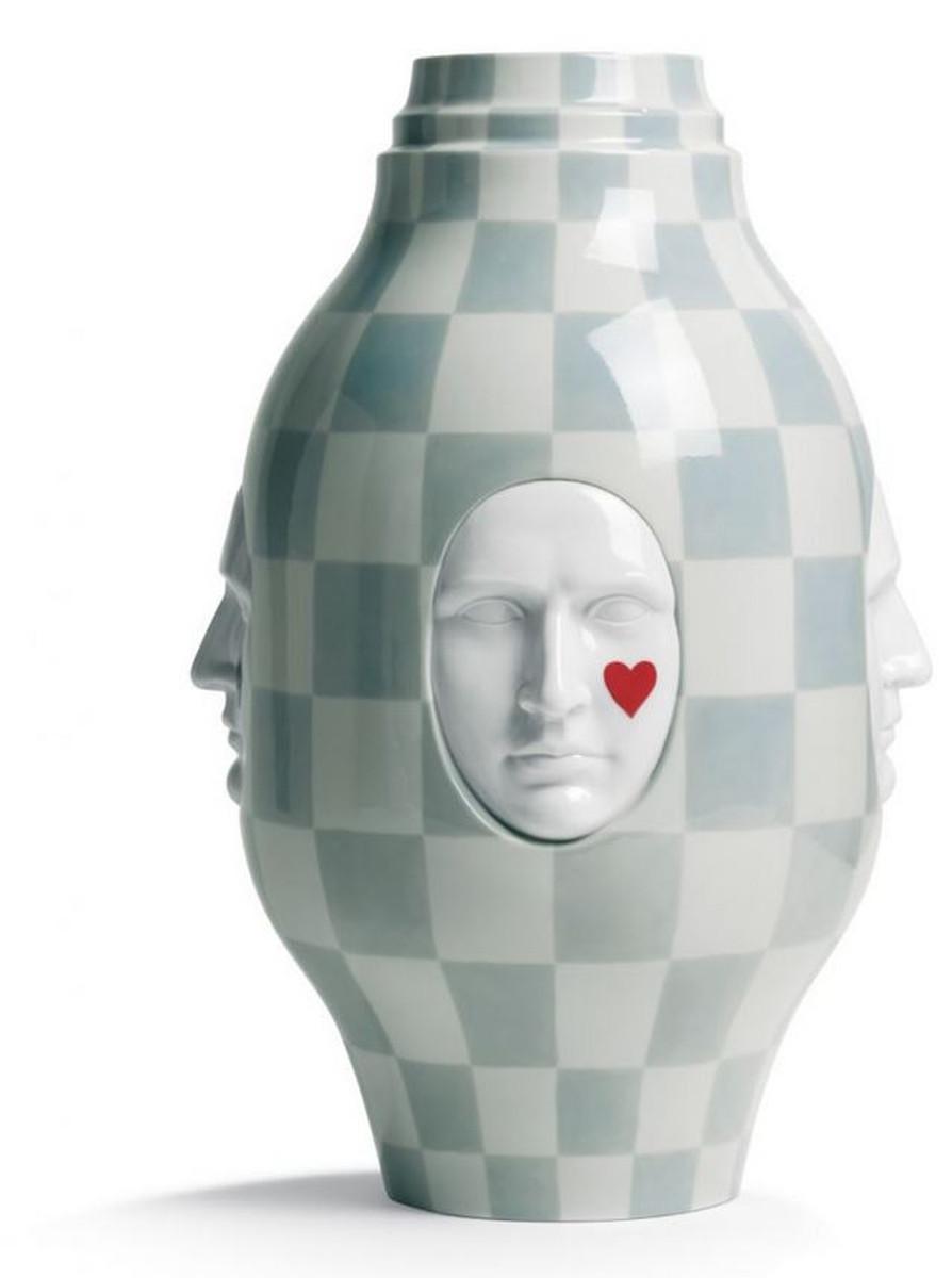 Casa Padrino Designer Porcelain Vase White Gray 31 X H 52 Cm