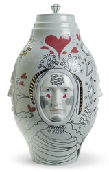 Casa Padrino Designer Porcelain Vase Gray / Multicolor Ø 27 x H 39 cm - Handcrafted & Hand Painted Luxury Deco Object