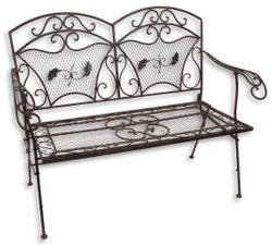 Casa Padrino Art Nouveau Garden Bench Brown 124 x 59 x H. 95 cm - Garden Furniture