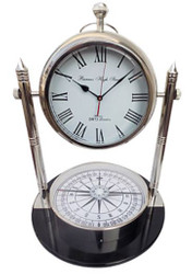 Casa Padrino Table Clock with Compass Silver / Black Ø 48 x H. 63.5 cm - Living Room Deco