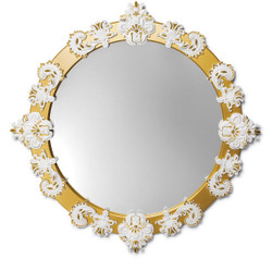 Casa Padrino Designer Wall Mirror Gold / White Ø 124 cm - Luxury Mirror with Handmade Porcelain Decoration made of the finest Spanish Porcelain