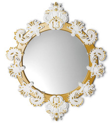 Casa Padrino Designer Wall Mirror Gold / White 72 x H. 90 cm - Luxury Mirror with Handmade Porcelain Decoration made of the finest Spanish Porcelain
