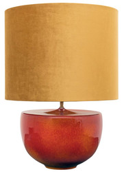 Casa Padrino Luxury Ceramic Table Lamp Orange / Gold Ø 45 x H. 63 cm - Handmade Table Light with Golden Lampshade