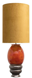 Casa Padrino Luxury Ceramic Floor Lamp Orange / Gold Ø 50 x H. 135 cm - Handmade Floor Light with Golden Lampshade