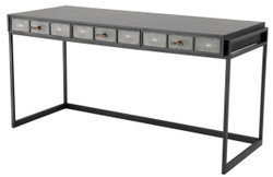 Casa Padrino luxury desk with 3 drawers black / gray 150 x 60 x H. 75 cm - Luxury Office Furniture
