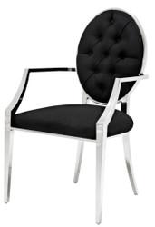 Casa Padrino Luxus Esszimmerstuhl mit Armlehnen Silber / Schwarz 57 x 65 x H. 98 cm - Esszimmermöbel