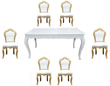 Ensemble de salle à manger baroque Casa Padrino blanc / or - Table à manger  + 6 chaises sans accoudoirs