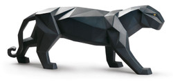 Casa Padrino Luxury Porcelain Panther Matt Black 50 x H. 19 cm - Handmade & Handpainted Deco Figurine