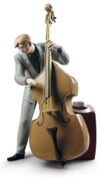 Casa Padrino Porcelain Sculpture Jazz Bassist Multicolor 20 x H. 35 cm - Handmade & Hand Painted Luxury Deco Figurine