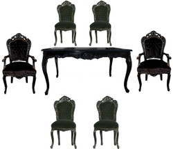 Casa Padrino Baroque Dining Set Black / Black - Dining table + 6 chairs