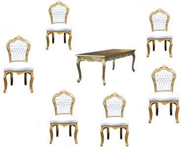Casa Padrino Baroque Dining Set White / Gold - Dining table + 6 chairs without armrests – Bild 1