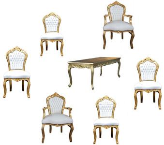 Ensemble de salle à manger baroque Casa Padrino blanc / or - Table à manger  + 6 chaises