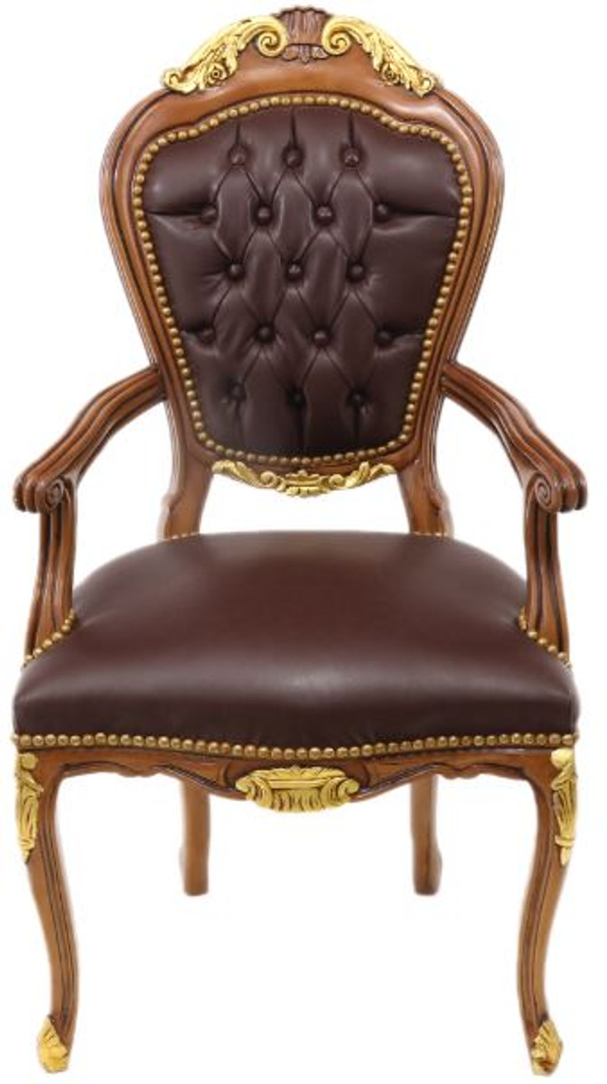 Cool Casa Padrino Baroque Luxury Leather Dining Chair With Armrest Brown Mahogany Antique Style Furniture Barock