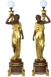 Casa Padrino Barock Luxus Stehlampen Weibliche Figuren Set  Braun / Gold - Edel & Prunkvoll