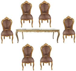 Casa Padrino Baroque dining room set Leopard / Gold - dining table + 6 chairs without armrests