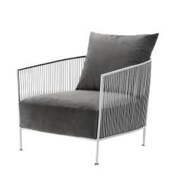 Casa Padrino luxury armchair Gray / Silver 69 x 77 x H 78 cm - Designer Hotel Furniture