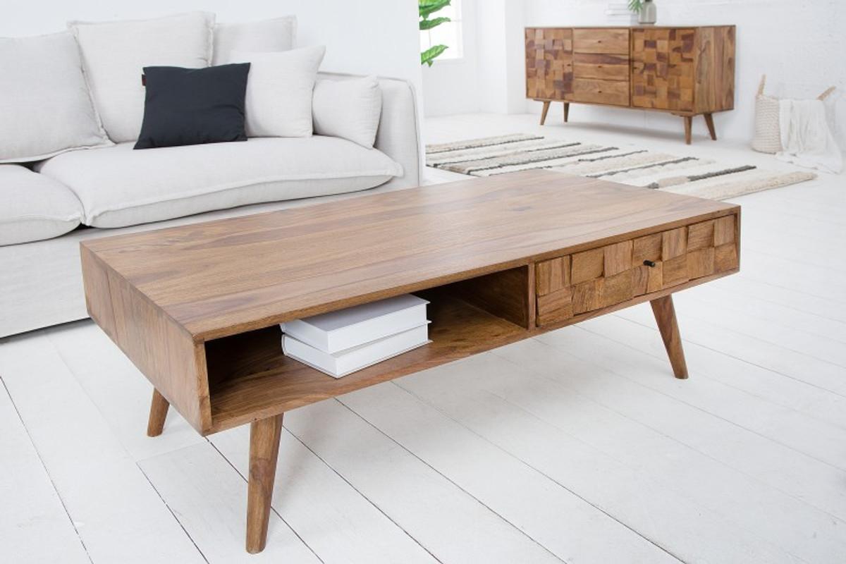 Tavolino da salotto in legno massello di design Casa Padrino nature L.117 x  H.40 x D 60 tavolo da soggiorno