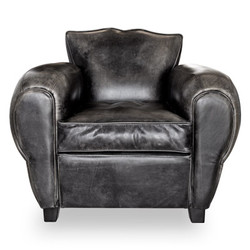 Art Deco Genuine Leather Armchair Buffalo Leather / Antique Black - Club Chair - Lounge Chair - Vintage
