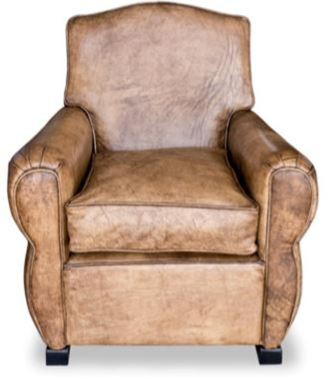 Casa Padrino Echtleder Sessel Buffalo Leder Antik Braun