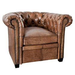 Casa Padrino Chesterfield Genuine Leather Brown Armchair in Solid Wood - Luxury Living Room Furniture