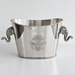 Massiver Luxus Tisch Weinkühler / Sektkühler Elefant vernickelt aus dem Hause Casa Padrino