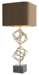 Casa Padrino Luxury Table Lamp Vintage Brass / Brown 40 x H. 98 cm - Designer Table Lamp