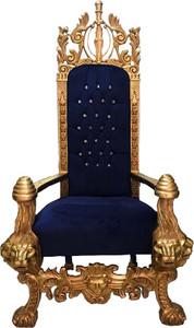 Majestätischer Harald Glööckler Luxus Barock Thron Sessel Pompöös by Casa Padrino Lion Royalblau / Gold – Bild 2