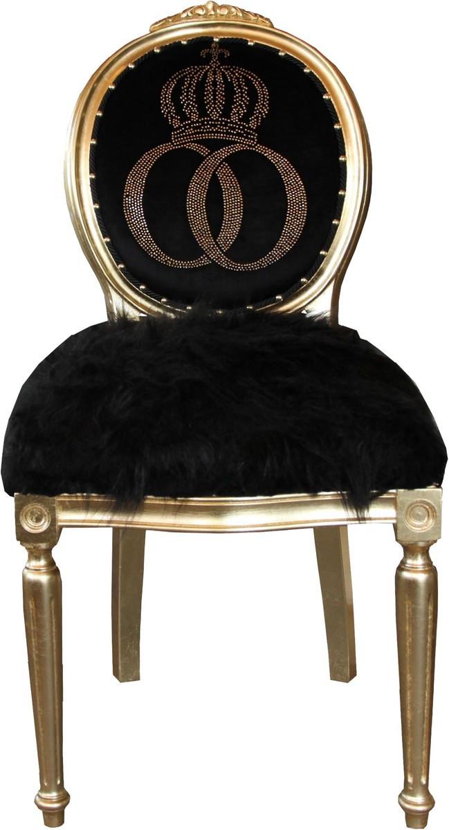 pomp s by casa padrino luxus barock esszimmer stuhl kunstfell schwarz gold krone mit. Black Bedroom Furniture Sets. Home Design Ideas