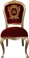 Pompöös by Casa Padrino Luxury Baroque Dining Chair Bordeaux / Gold with Crown - Pompööser Baroque Chair designed by Harald Glööckler