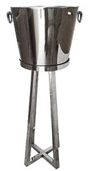Casa Padrino luxury wine cooler stand silver brass H 70 cm, diameter 20 cm - wine holder hotel decoration