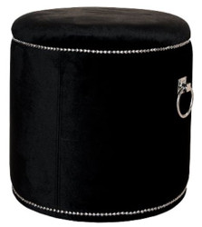 Casa Padrino Luxury Stool Black / Silver Ø 50 x H. 52 cm - Luxury Round Stool