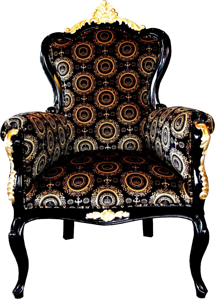 pomp s by casa padrino luxus barock sessel bergere schwarz gold pomp ser barock sessel. Black Bedroom Furniture Sets. Home Design Ideas
