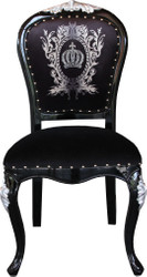 Pompöös by Casa Padrino Luxury Baroque Dining Chair Black / Gold with Crown - Pompööser Baroque Chair designed by Harald Glööckler