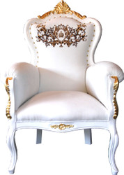 Pompöös by Casa Padrino Luxury baroque armchair Bergere White / Gold set with rhinestones - Pompöös Baroque armchair designed by Harald Glööckler
