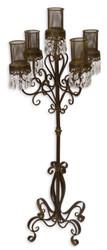 Casa Padrino Candle Holder / Candle Stick Brown Ø 50 x H. 121 cm - Art Nouveau Garden Decoration