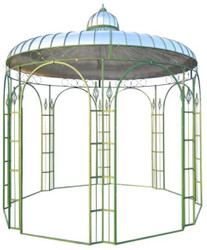 Casa Padrino Pavilion Ø 325 x H. 350 cm - Various Colors - Garden Pavilion made of Wrought Iron with Galvanized Tin Roof