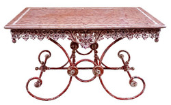 Casa Padrino Art Nouveau Garden Table Antique Red / White 130 x 80 x H. 75 cm - Handmade Garden Furniture