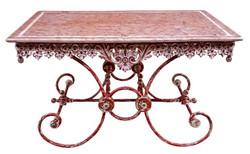 Casa Padrino Jugendstil Gartentisch Antik Rot / Weiß 130 x 80 x H. 75 cm - Handgefertigte Gartenmöbel