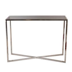 Casa Padrino Designer Konsole Silber 100 x 35 xH. 75 cm - Konsolentisch mit schwarzer Glasplatte