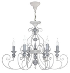Casa Padrino Art Nouveau Chandelier White / Gray Ø 72 x H 51 cm - Chandelier with Decorative Elements