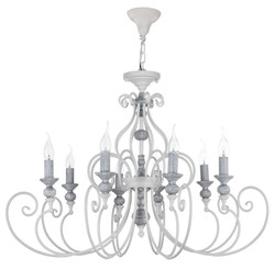 Casa Padrino Art Nouveau Chandelier White / Gray Ø 88 x H. 57 cm - Chandelier with Decorative Elements