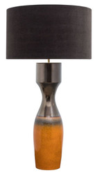Casa Padrino luxury ceramic table lamp silver / orange Ø 60 x H. 113 cm - Handmade table lamp with black lampshade