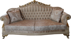 Casa Padrino Luxus Barock 3er Sofa Beige / Creme/ Elfenbein / Gold - Sitzbank Möbel - Luxury Hotel Collection