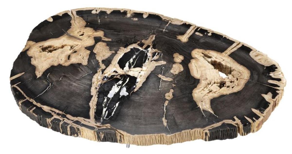 ... Casa Padrino Luxus Couchtisch   Wohnzimmertisch Mit Dunkler  Versteinerten Holz Tischplatte 2 ...