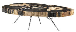 Casa Padrino Luxury Coffee Table - Living Room Table with dark Petrified Wood Table Top