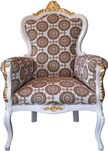 Pompöös by Casa Padrino Luxury Baroque Armchair Bergere Beige / white / gold - Pompöös Baroque armchair designed by Harald Glööckler – Bild 1