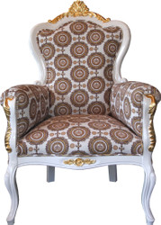 Pompöös by Casa Padrino Luxury Baroque Armchair Bergere Beige / white / gold - Pompöös Baroque armchair designed by Harald Glööckler