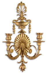 Casa Padrino Baroque Wall Candle Holder Gold 29.5 x 16 x H. 53.5 cm - Living Room Deco in Baroque Style