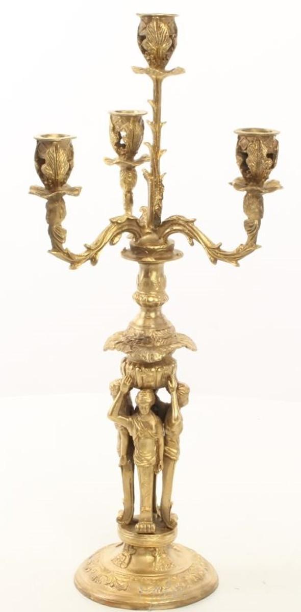 Casa Padrino Barock Kerzenständer Set Gold 16 x 16 x H. 42 cm - Barockstil Kerzenhalter aus vergoldeter Bronze 3