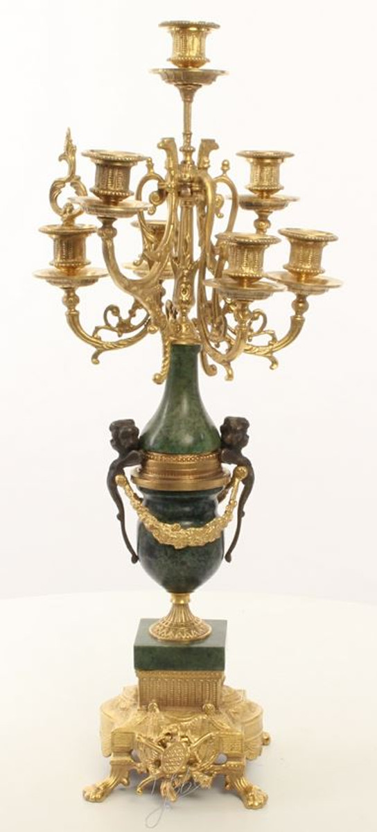 Casa Padrino Barock Kerzenständer Set Gold / Grün 22 x 26 x H. 62,4 cm - Barockstil Möbel 1
